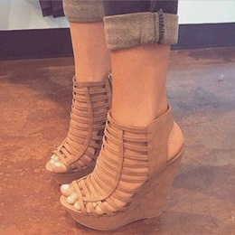 Shoespie Camel Caged Wedge Sandals