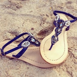 Shoespie Blue Strappy Flat Sandals