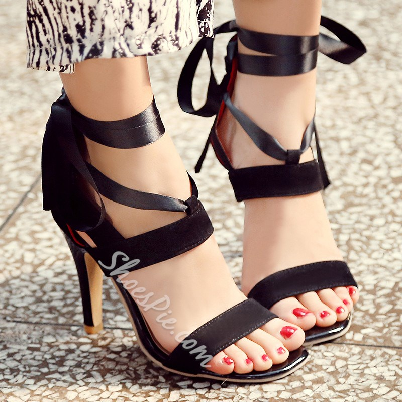 Shoespie Ribbons Lace Up Sandals