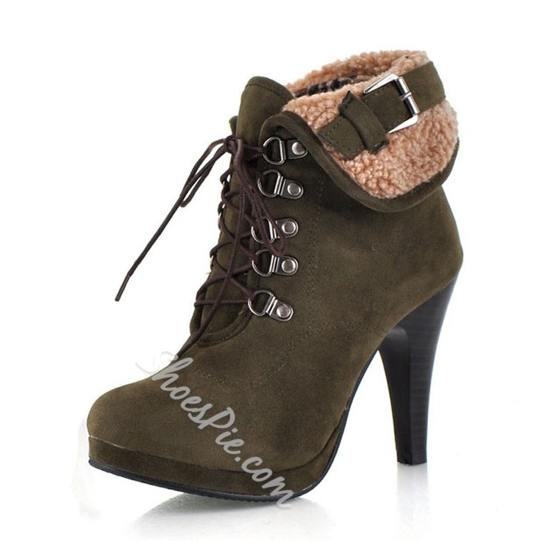 Fancy Lace-Up Stiletto Heel Ankle Boots
