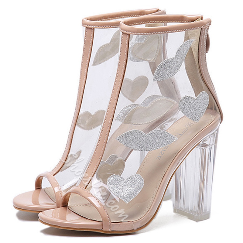 Shoespie Chic Open Toe Illusion Fashion Booties