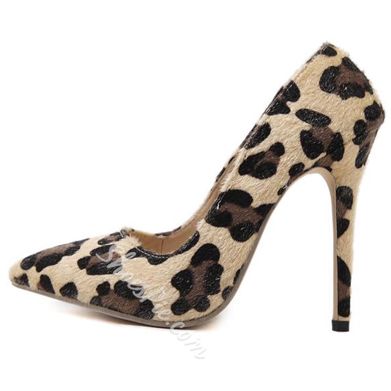 Shoespie Pointed-toe Shallow Leopard Print Stiletto Heels