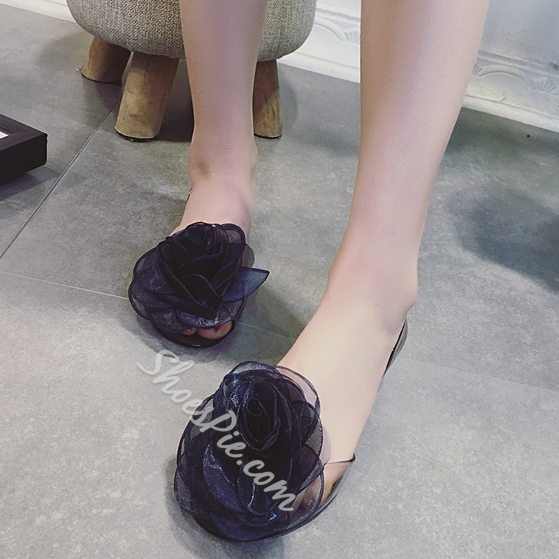Shoespie Classy Flower Appliqued Illusion Loafers