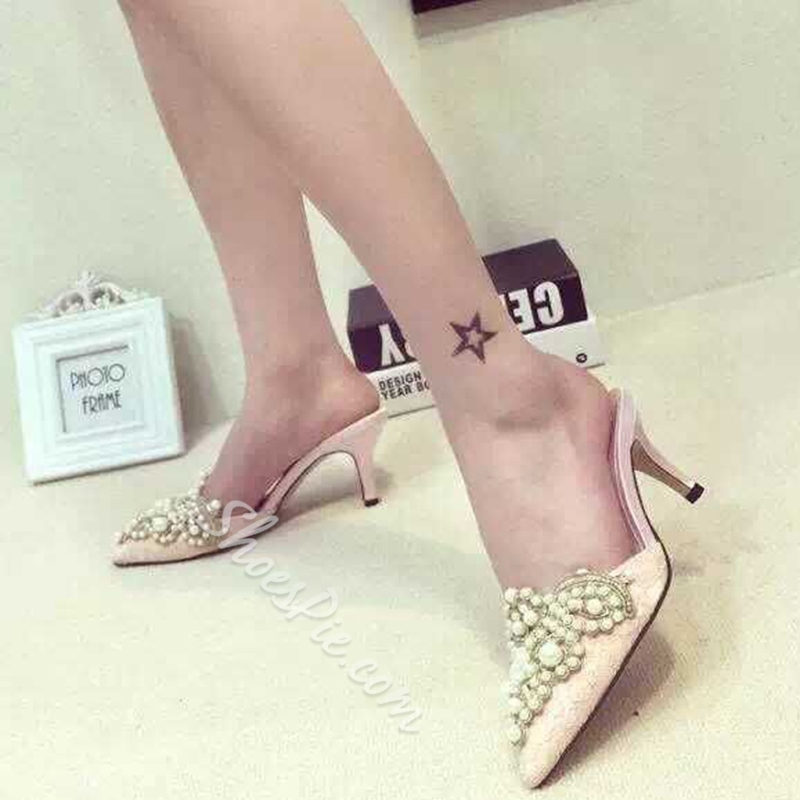 Shoespie Pointed Toe Beading Heel Sandals