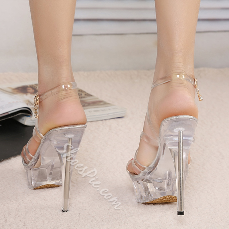 Shoespie Strappy Platform Clear Shoes