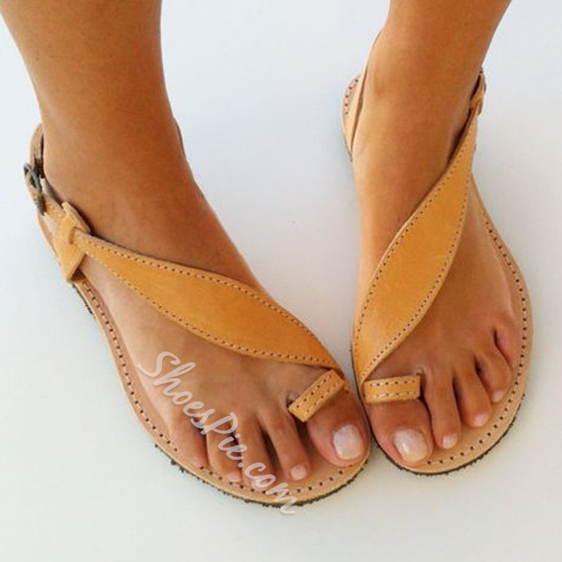 Shoespie Clip Toe Threading Flat Sandals