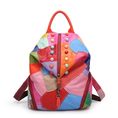 Shoespie Awesome Color Block Rivets Backpack