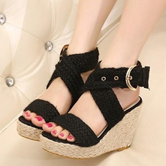 Shoespie Braided Platform Strappy Wedge Sandals