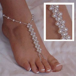 Shoespie Bling Beaded Thong Anklets