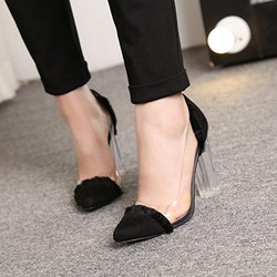Shoespie Two Tone Patchwork Lucite Chunky Heel Pumps