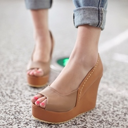 Shoespie Comfortable Patchwork Wedge Heels