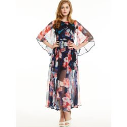 Flare Sleeves Flower Print Maxi Dress