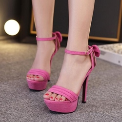 Shoespie Solid Color Back Bows Platform Heel Sandals