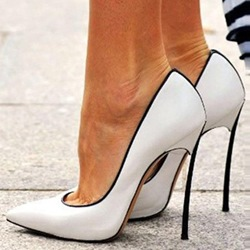 Shoespie Chic White Coppy Leather Pointed Toe Stiletto Heels