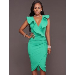 Shoespie Fashion Falbala V Neck Bodycon Dress