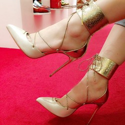 Shoespie Stylish Champagne Lace Up Ankle Corset Stioletto Heels