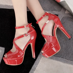 Shoespie Solid Color Cross Wrap Cage Platform Heels