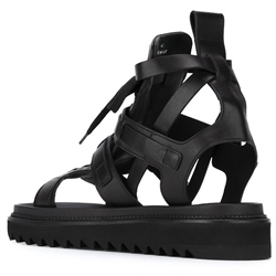 Shoespie Black Rugged Lace Up Men's Roman Sandals