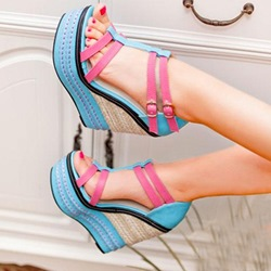 Shoespie Block Color Wedge Sandals