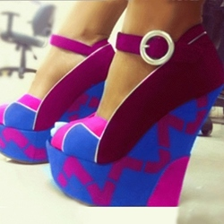 Shoespie Fashionable Contrast Colour Wedge Heel Sandals