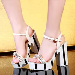 Shoespie Stripes and Rhinestones Platform Chunky Heel Sandals