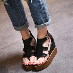 Shoespie Cutout Thong Platform Wedge Sandals