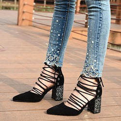 Shoespie Classy Black Lace Up Cage Chunky Heels