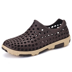 Slip-On Color Block Low-Cut Upper Hollow Men's Sandals