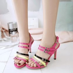 Shoespie Color Block Strappy Buckles Heel Sandals