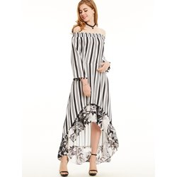 Stripe Flower Print Patchwork Maxi Dress