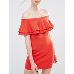 Shoespie Slash Neck Falbala Backless Ruffle Sleeve Bodycon Dress