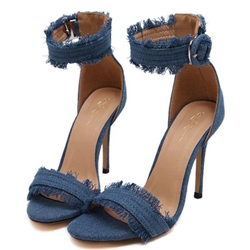 Shoespie Denim Raw Edge Strappy Sandals