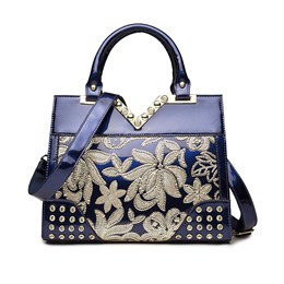 Shoespie Elegant Shine Leather Floral Appliqued Convertible Tote