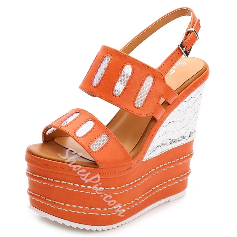 Shoespie Multi Color Platform Wedge Sandals