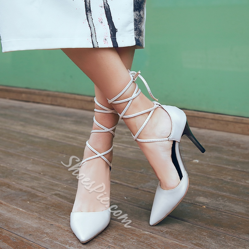 Shoespie Trendy Plain Lace Up Stiletto Heels