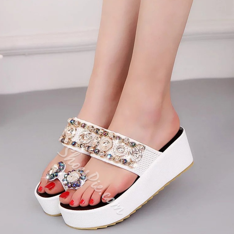 Shoespie Colorful Rhinestones Clip Toe Platform Slippers