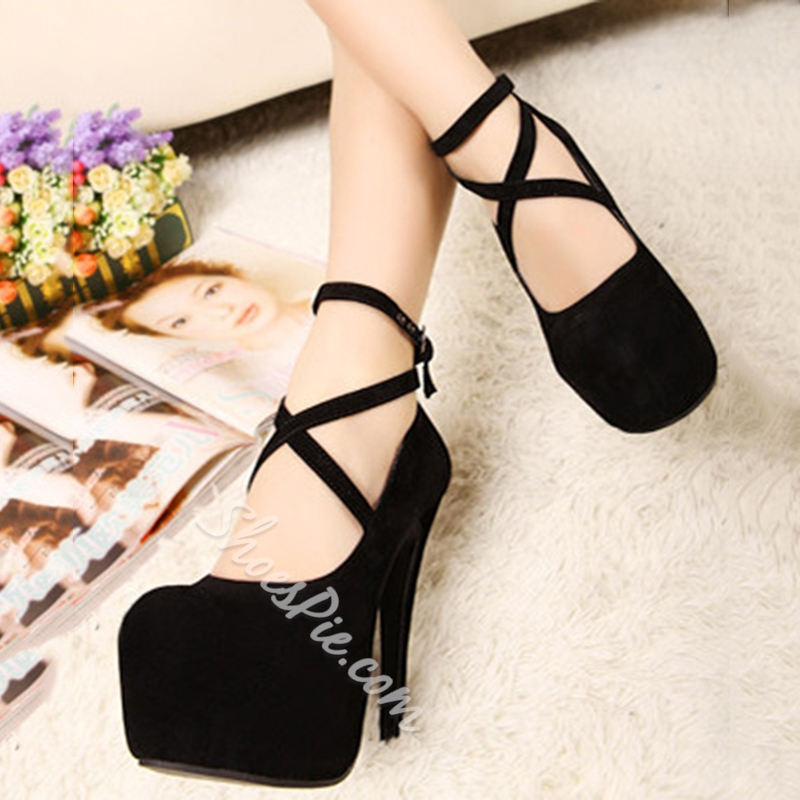 Fashionable Platforn Stiletto Heels with Cross Straps
