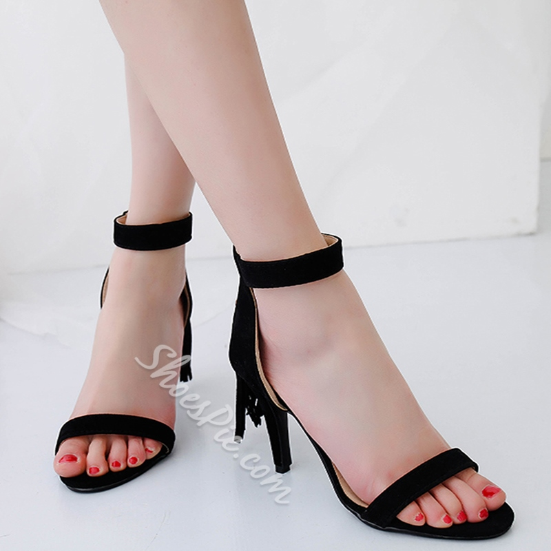 Shoespie Tasseled Back Zipped Heel Sandals