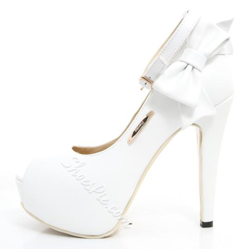 Fashionable White PU Peep Toe Lovely Bowtie High Heel Shoes