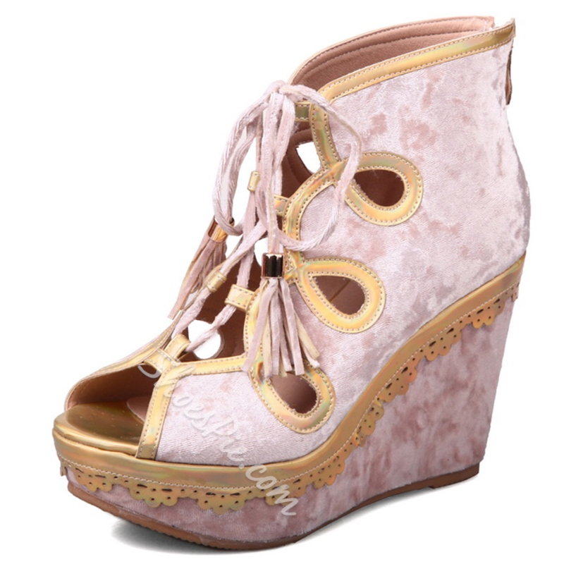 Shoespie Exotic Style Cut Out Cage Wedge Heels