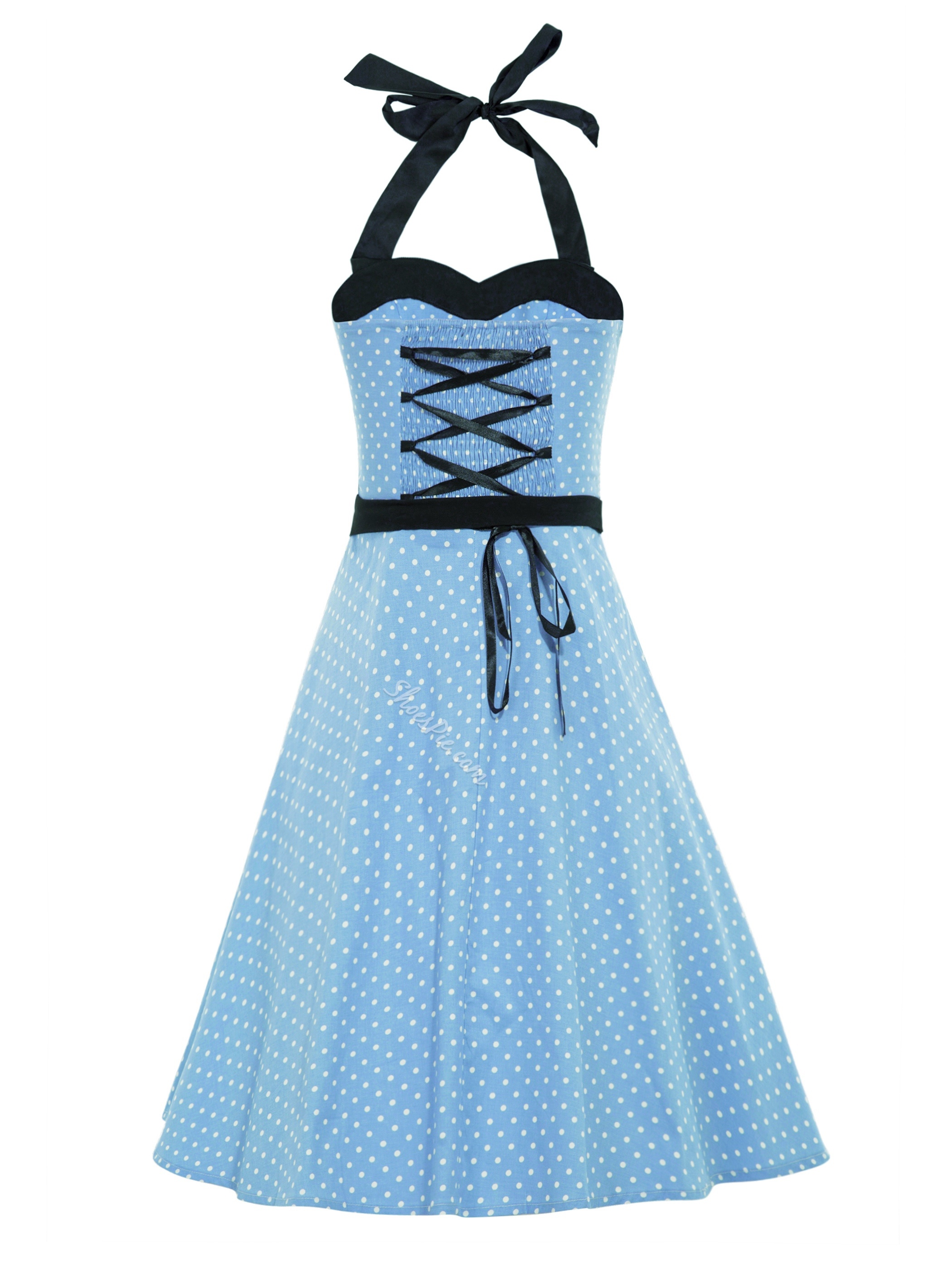 Sleeveless Polka Dots Backless A-Line Vintage Dress