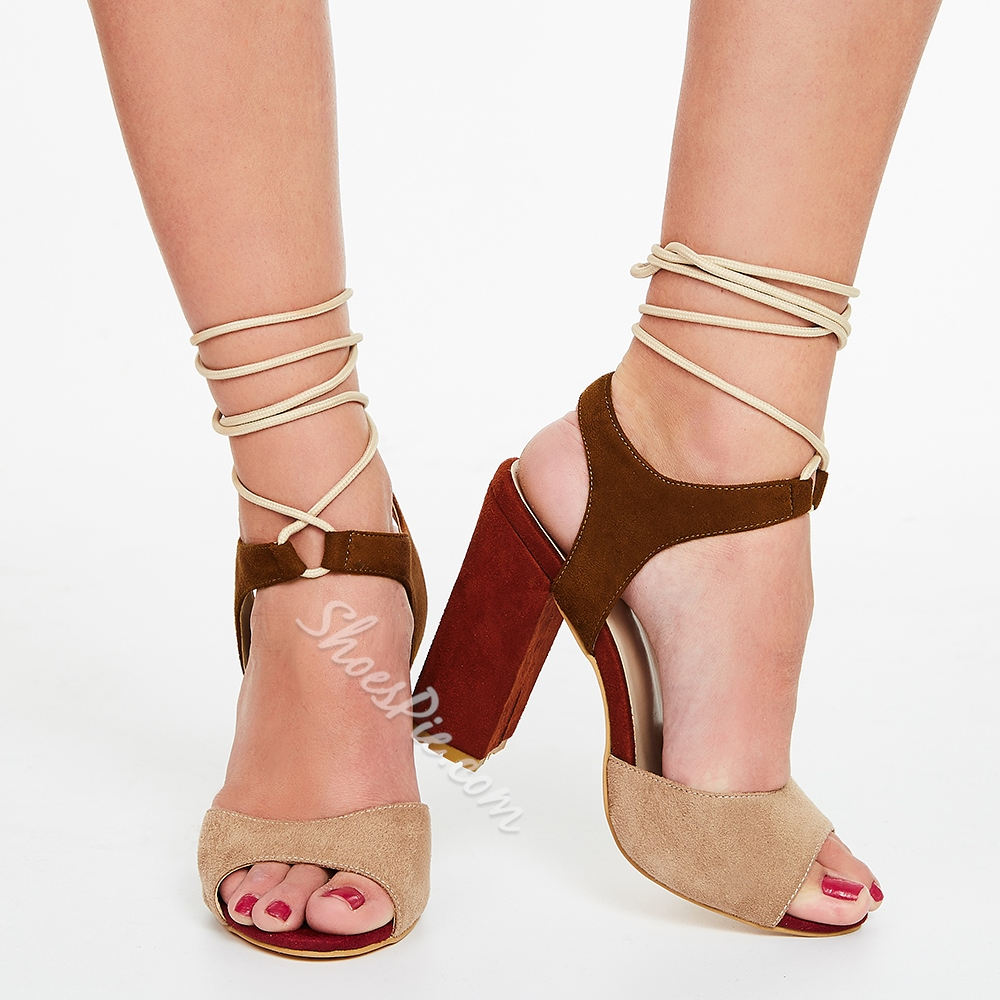 Shoespie Color Block Chunky Heel Sandals