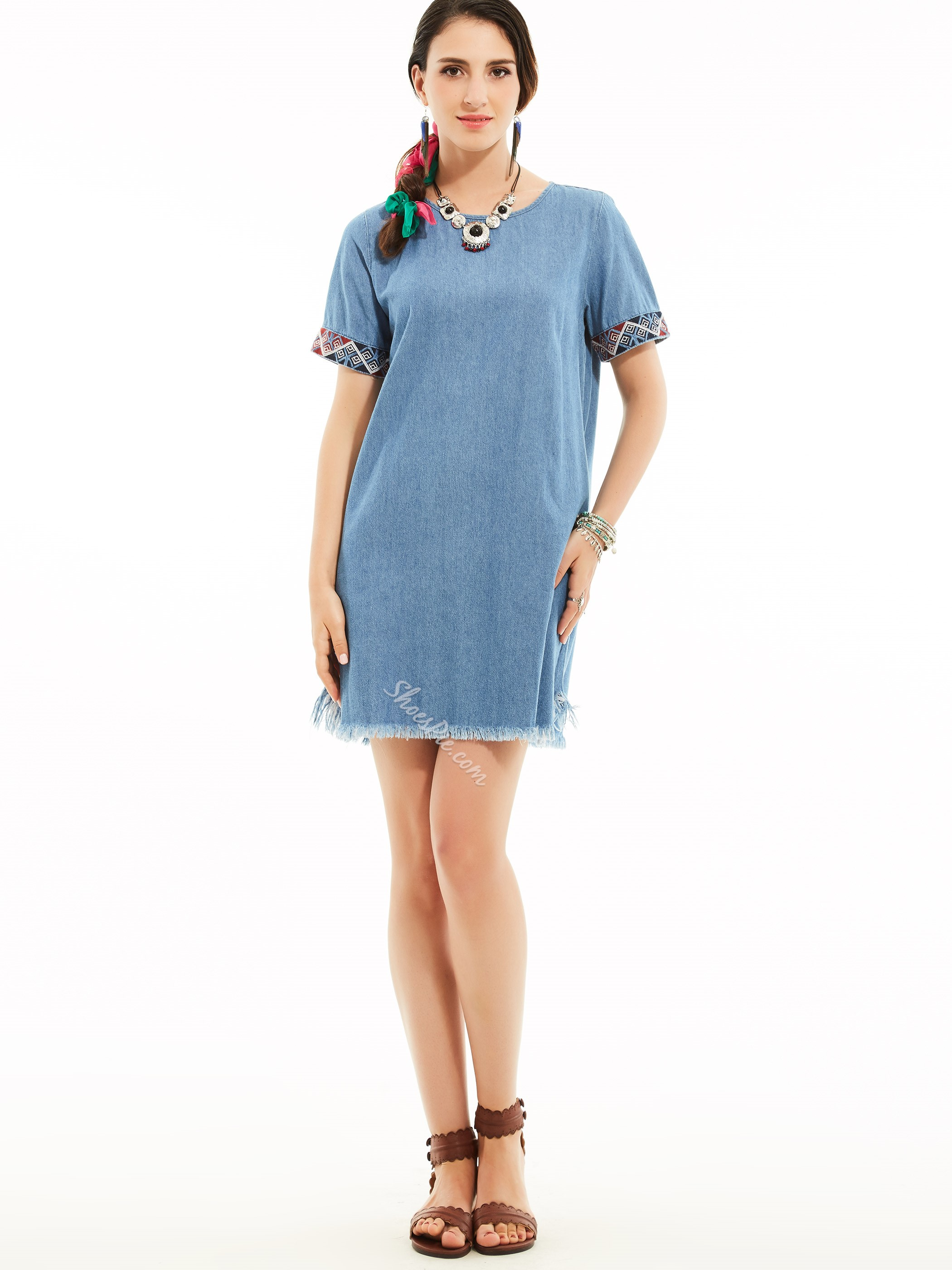 Round Neck Patchwork Plain Day Dress