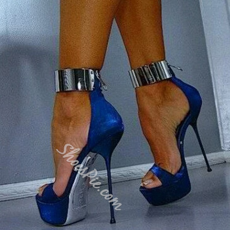 Ladies' Love Metal Ankle Wrap Stiletto Dress Sandals