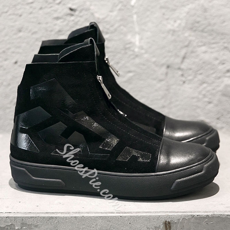 Shoespie Black and White Men's Casual Boots
