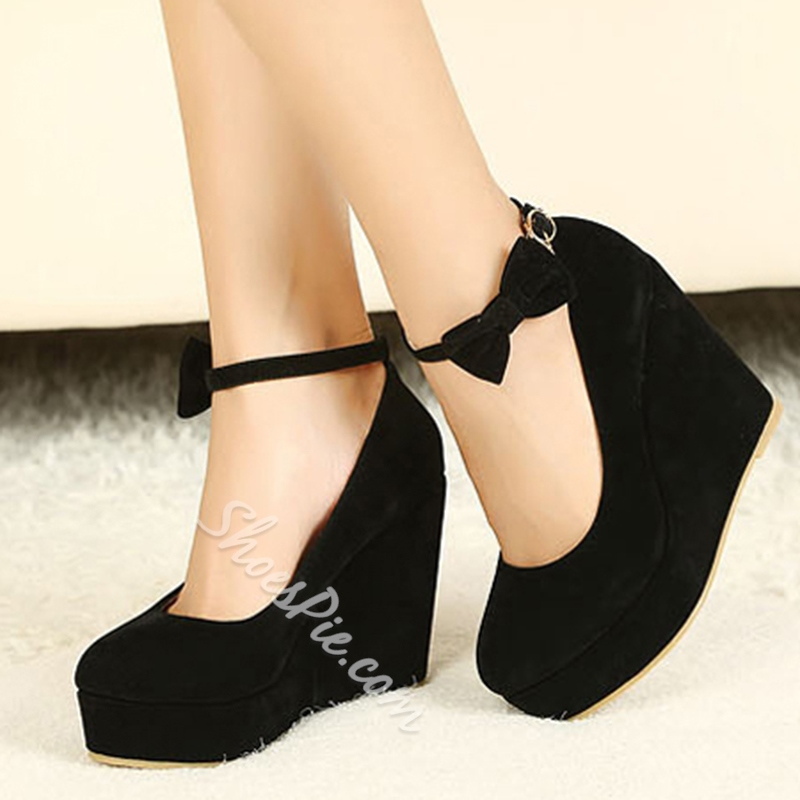 Hot Sale Black Wedge Heels with Bowtie- Shoespie.com