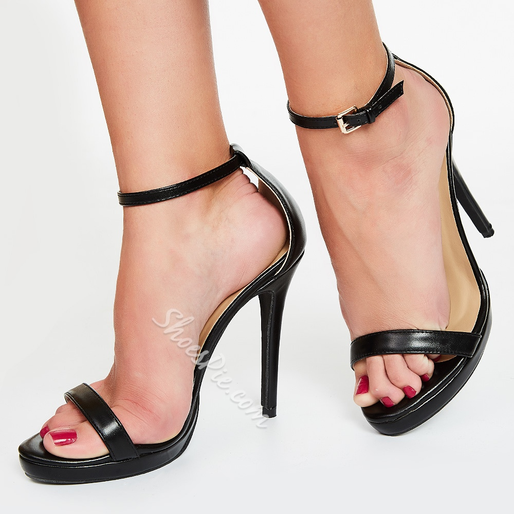 Glamorous Solid Color Ankle Strap Platform Stiletto Heel Sandals