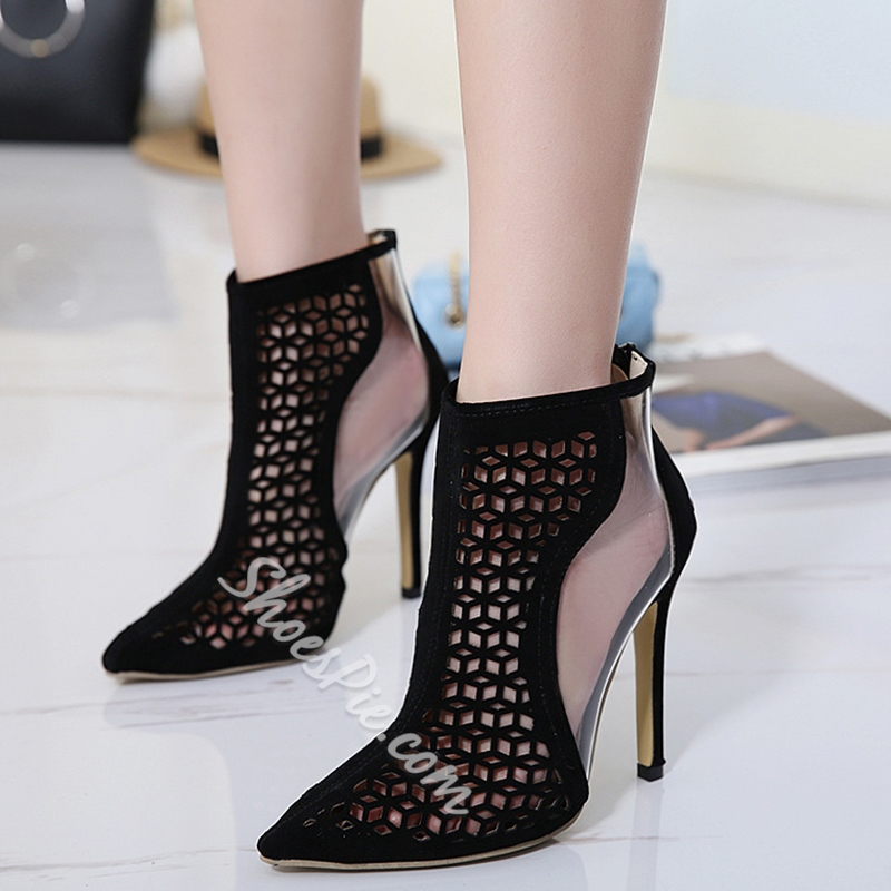 Shoespie High Stiletto Heel Hollow Ankle Boots