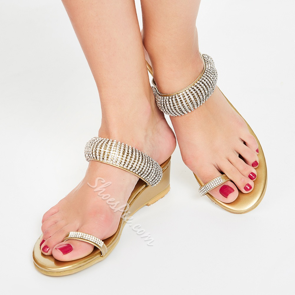 Shoespie Contrast Color Coppy Leather Wedge Sandals