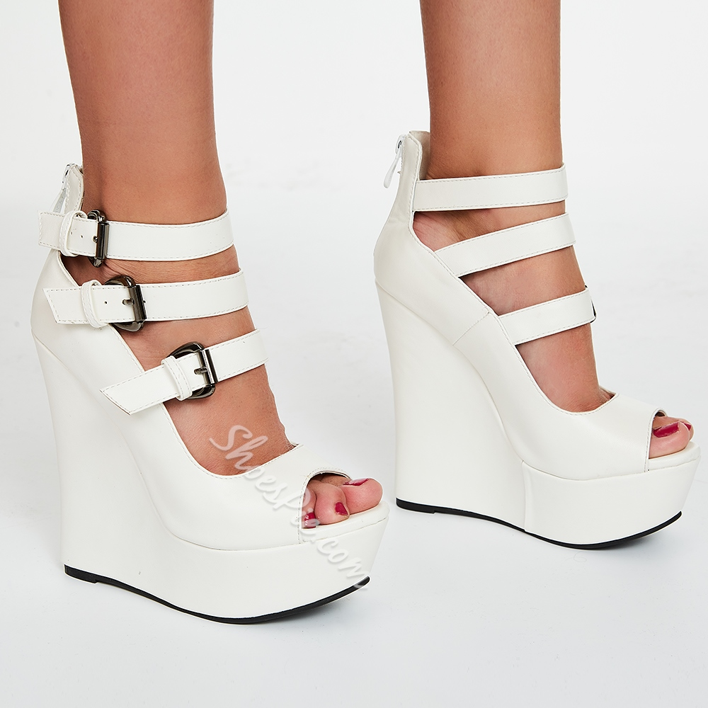 Shoespie Elegant White Strap Buckle Wedge Sandals